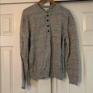 GAP Gray Black Button V-Neck Sweater Size Large